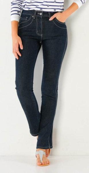 Zeštíhlující džínové kalhoty pro plnější tvary