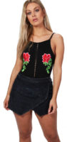 Černá zavinovací džínová sukně