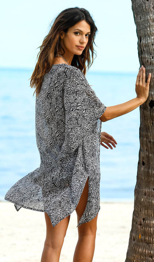 Černobílé plážové šaty