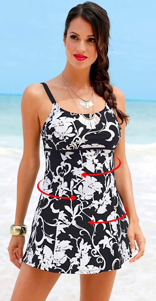 Černobílé stahovací koupací šaty