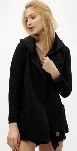 Černý žebrovaný kardigan s kapucí