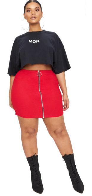 Červená mini sukně se zipem po celé délce