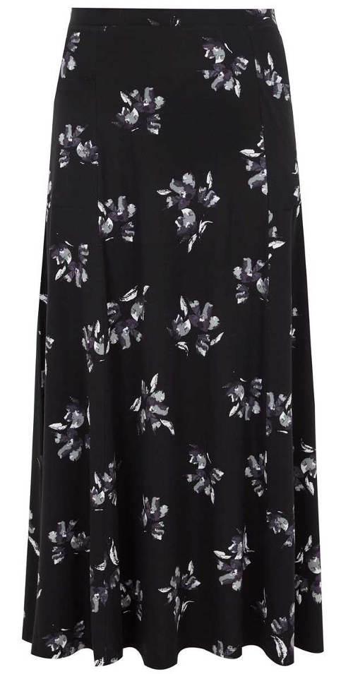 Dlouhá černá sukně s bílými květy
