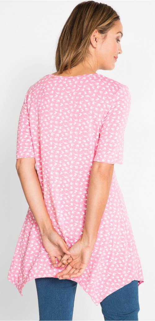 Dlouhé růžové asymetrické tričko
