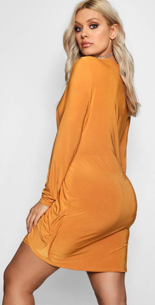 Krátké žluté šaty s dlouhým rukávem