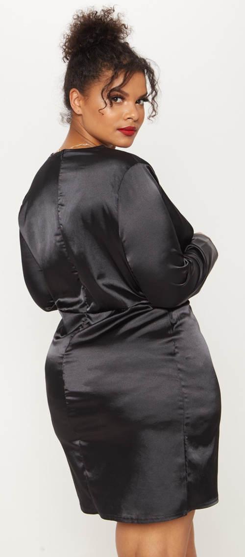 Lesklé černé maxi šaty