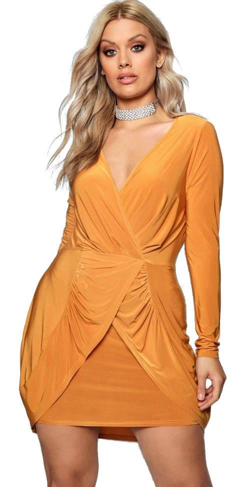 Řasené zavinovací žluté šaty