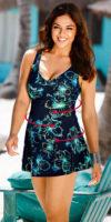 Tvarující plavkové šaty pro plnoštíhlé