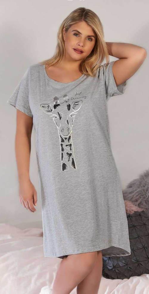 Bavlněná noční košile s potiskem žirafy