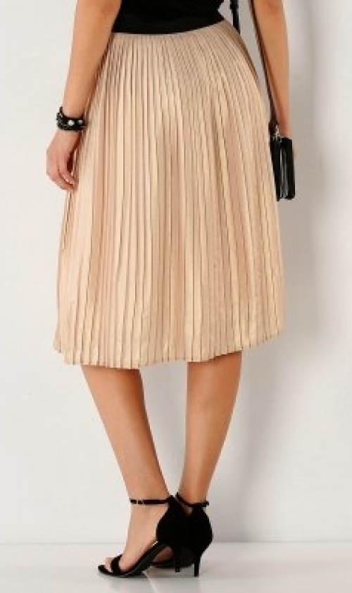 Béžová dámská midi sukně