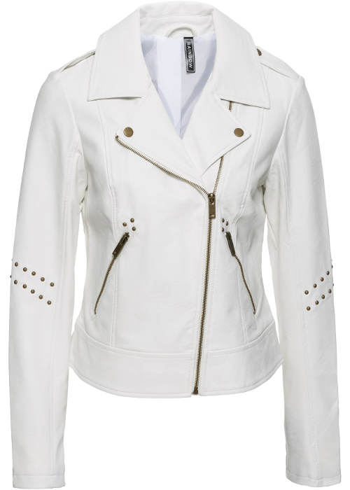 Bílá dámská motorkářská bunda