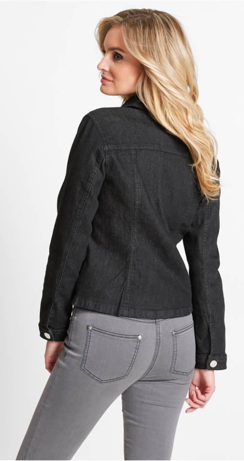 Černá jarní riflová bunda