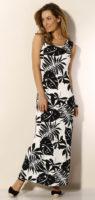 Dlouhé černobílé šaty s potiskem