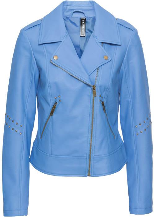 Modrá dámská motorkářská bunda