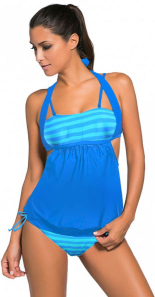 Plavky s topem přes bříško - ideální pro plnoštíhlé i těhotné