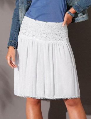 Voálová sukně s krajkovým pasem