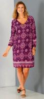 Výprodejové švestkové šaty s dlouhým rukávem