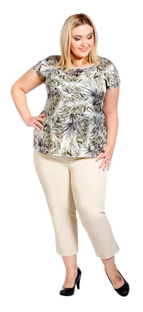 Béžové letní kalhoty pro plnější tvary