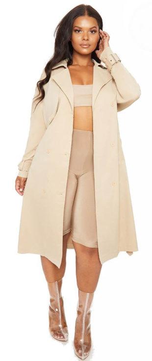 Béžový dámský kabát pro silnější postavy