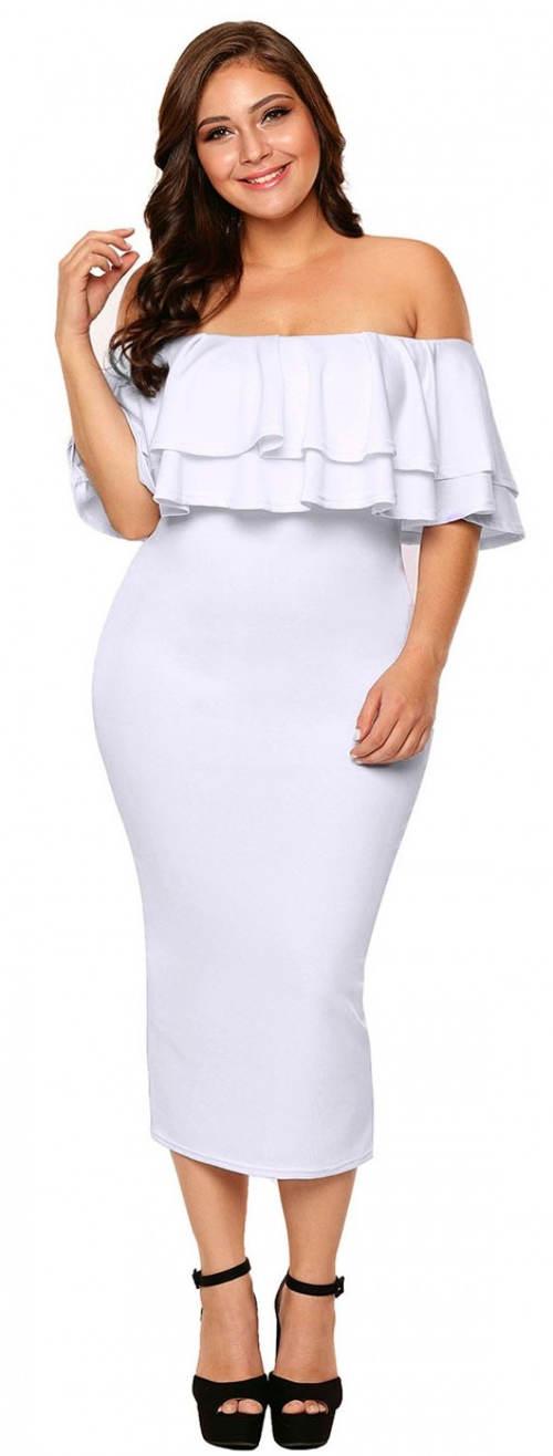 Bílé šaty s bohatým volánem