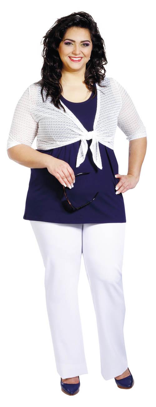 Bílé společenské kalhoty pro plnoštíhlé