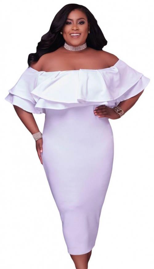 Bílé společenské šaty plus size velikosti