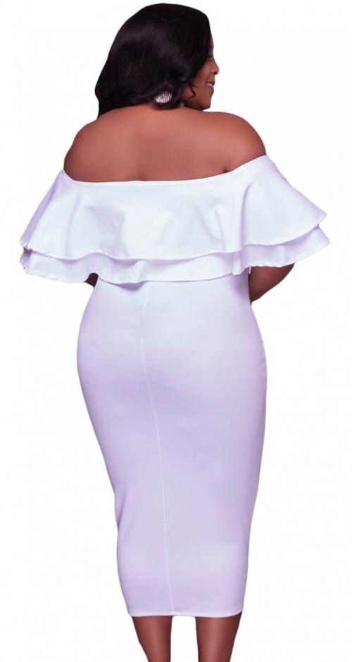 Bílé XXL šaty na ples