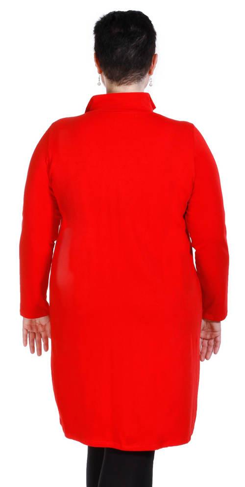 Červená dámská bunda ke kolenům