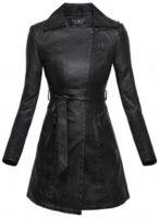 Dámský černý kožený kabát
