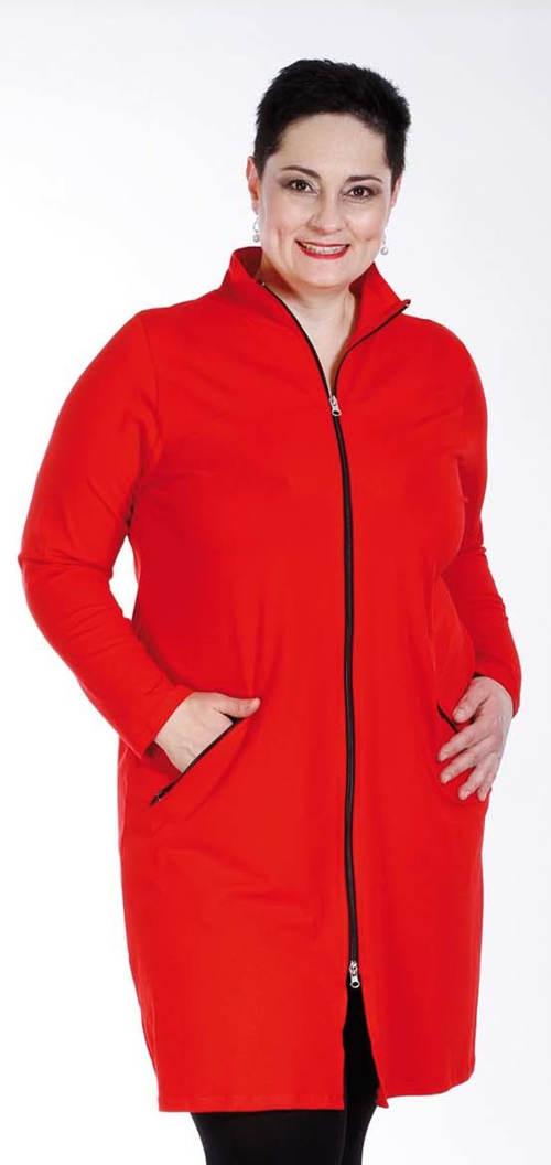 Delší červená mikinová bunda