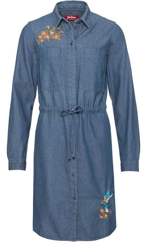 Delší džínové šaty s límečkem