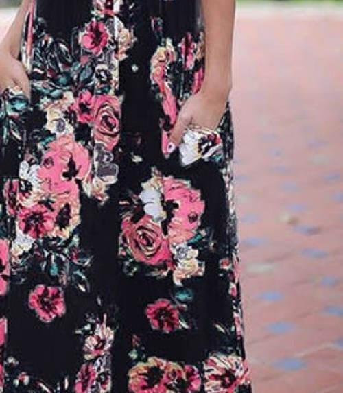 Dlouhé dámské šaty s kapsami