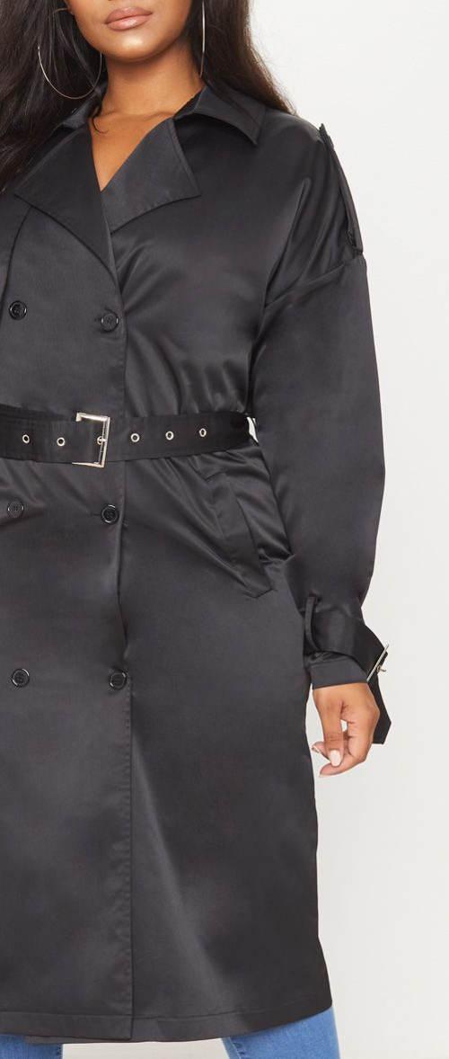 Dlouhý černý dámský kabát