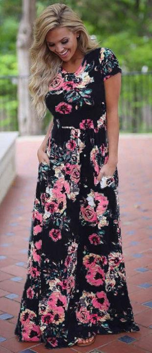 Květinové maxi šaty s kapsami