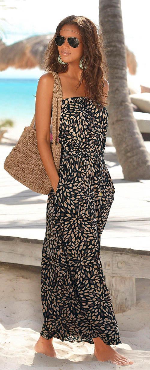Letní dámské maxi šaty bez ramínek