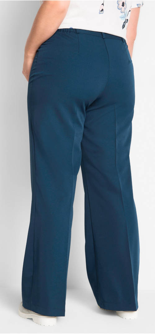 Modré elastické kalhoty pro plnoštíhlé