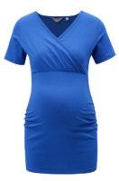 Modré těhotenské tričko s všitou gumou pod prsy
