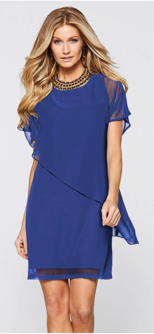 Modré vzdušné společenské šaty
