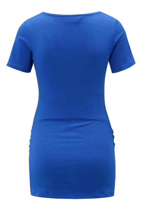 Prodloužené modré triko pro těhotné