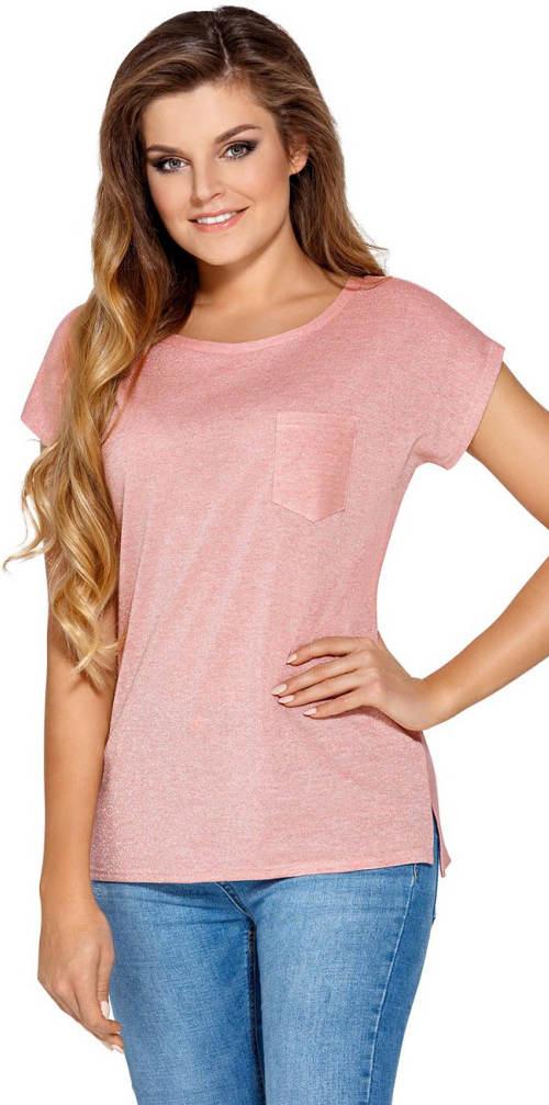 Růžové dámské tričko s krátkým rukávem