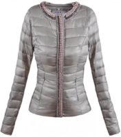 Šedá dámská zimní bunda do pasu