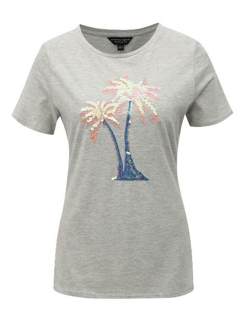 Šedé žíhané tričko s flitrovou palmou