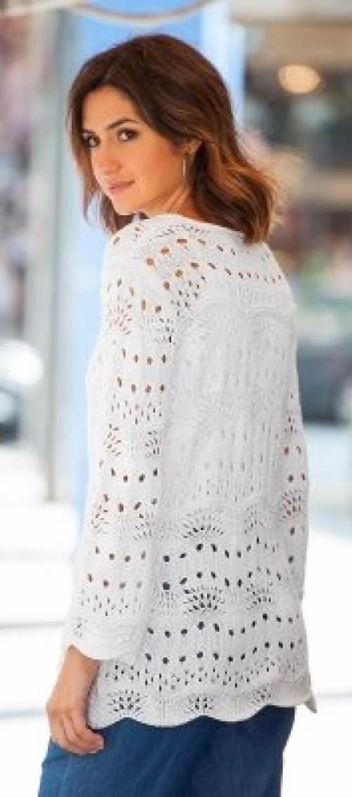 Společenský bílý dámský svetr