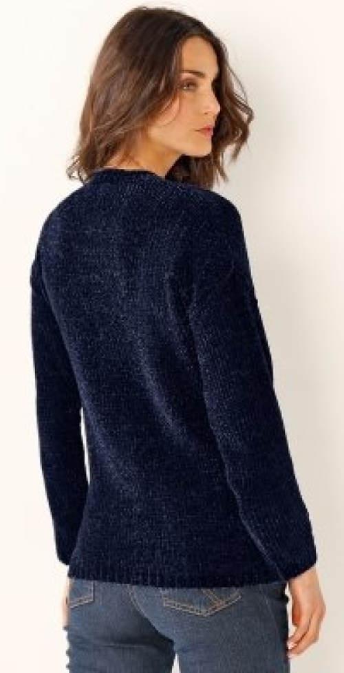 Tmavě modrý dámský pletený svetr