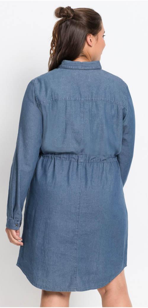 Volné riflové šaty s dlouhým rukávem