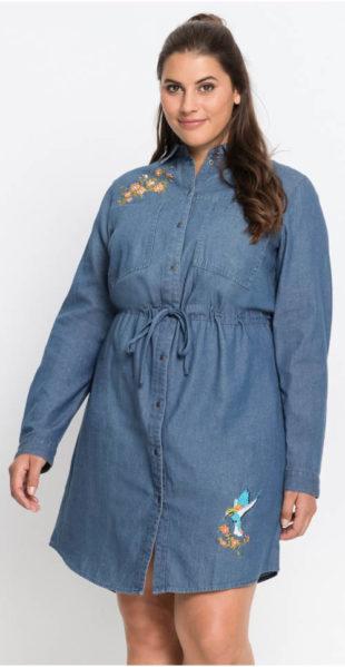 d34221fb92c5 Zimní džínové šaty s dlouhým rukávem