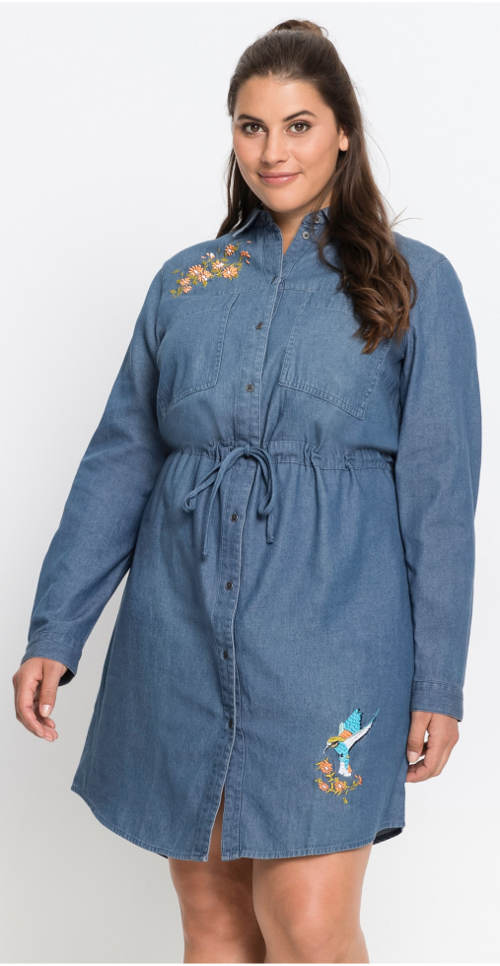 Zimní džínové šaty s dlouhým rukávem