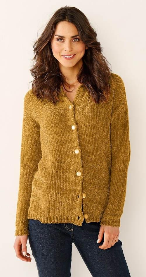 Žlutý dámský svetr na knoflíky