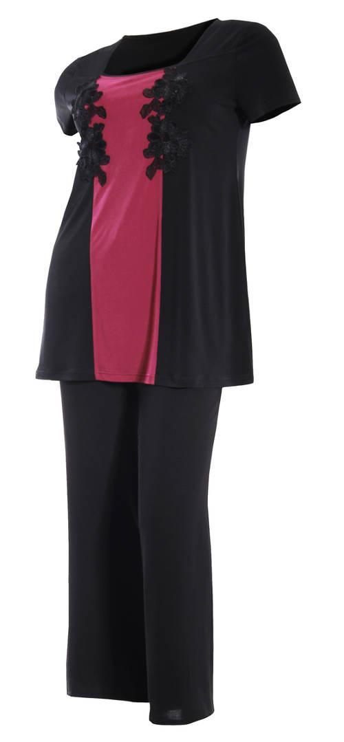 Černo-fialová halenka ke společenským kalhotám