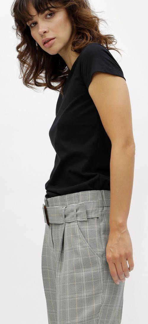 Letní společenské kalhoty s vyšším pasem
